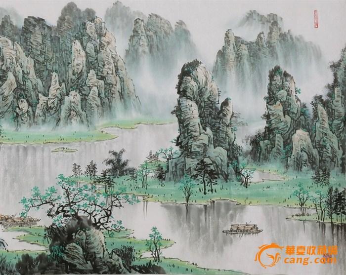 桂林山水手绘背景分享展示