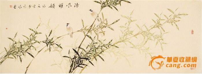 名家连俊洲国画仿古竹子手绘小六尺