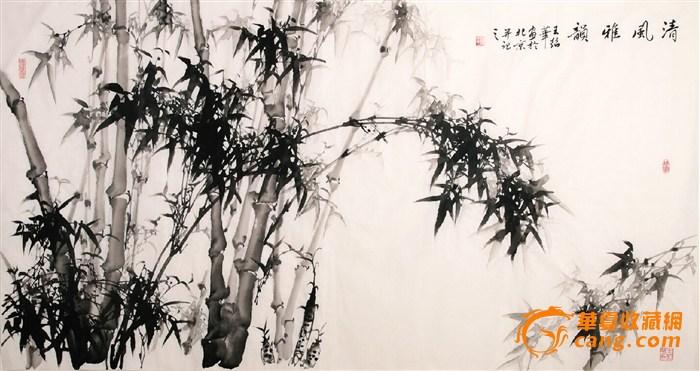 名家王绍华风格国画竹子墨竹字画大六尺