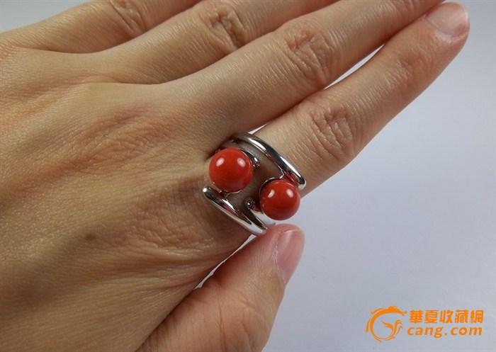 沙丁红珊瑚圆珠戒指