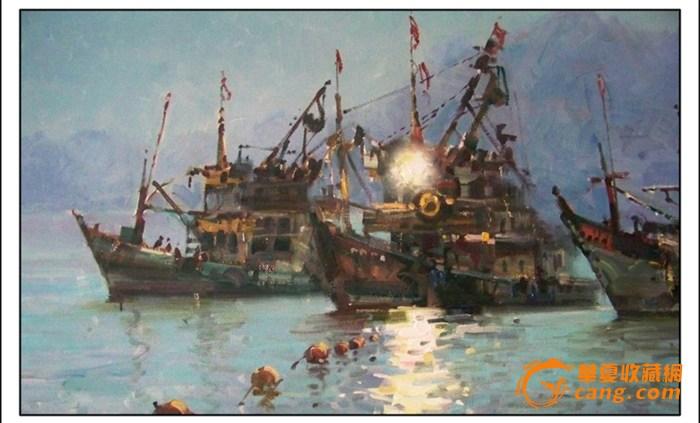 油画手绘风景涛声灯影
