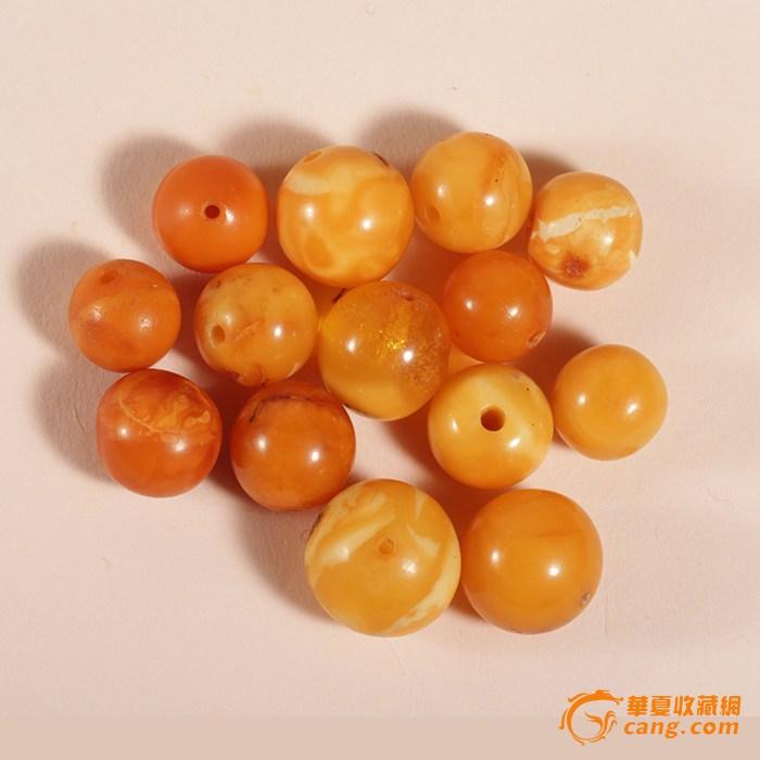 天然老蜜蜡圆珠次品珠 12.2克 欧洲回流