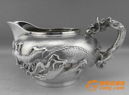 日本明治时期渡边造纯银满工龙纹茶具5件套
