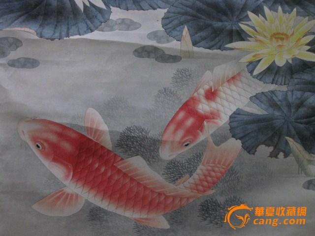 工笔画:年年有鱼(余).路雨年作品