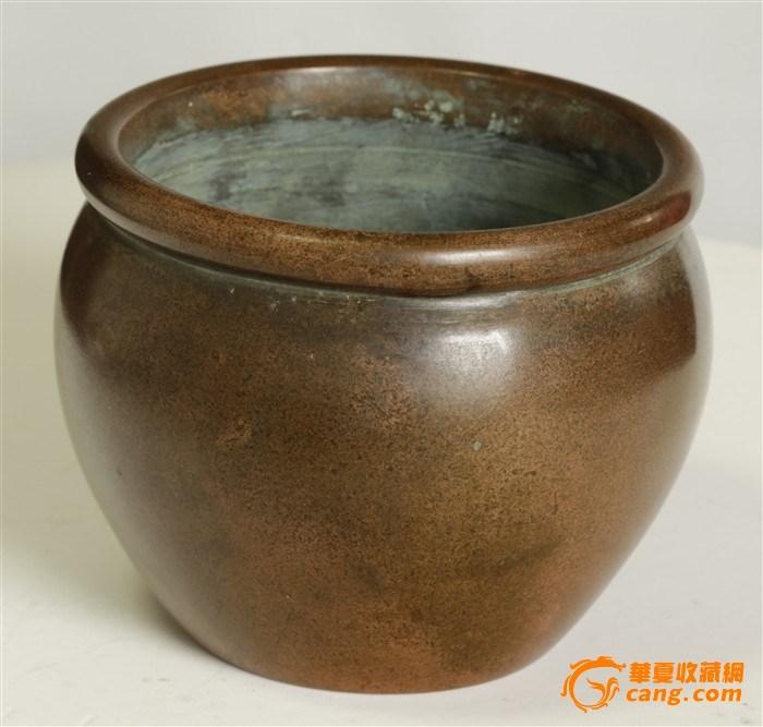 重1300克  高仿清代 世古之宝款   缸式铜炉(消保�u家)