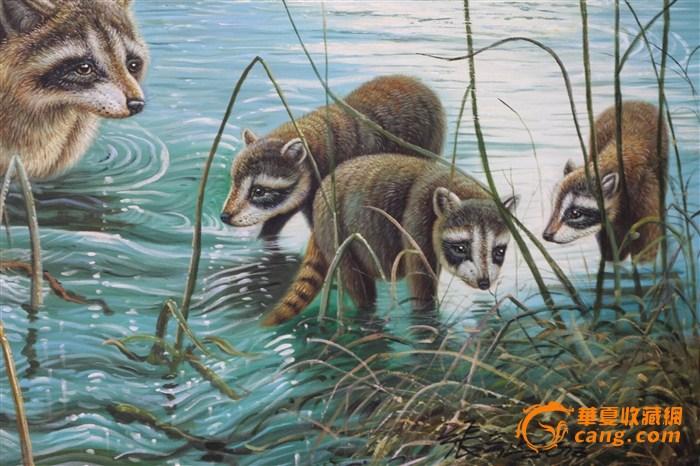 著名油画家张弓正小熊猫