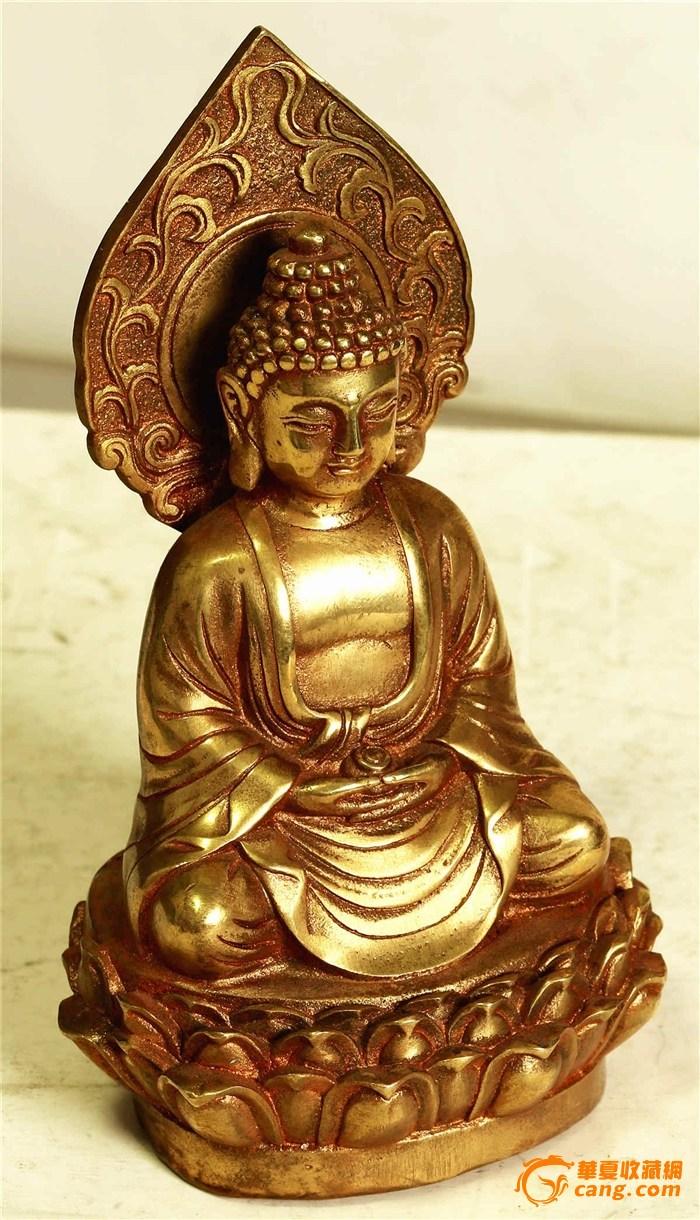 近现代 精美的铜鎏金释迦摩尼佛小座像(消保賣家低价賣貼)
