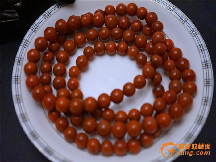 [珍品]柿子红南红塔链缠珠108颗