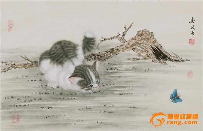 名家米春茂风格国画工笔猫蝴蝶四尺三开