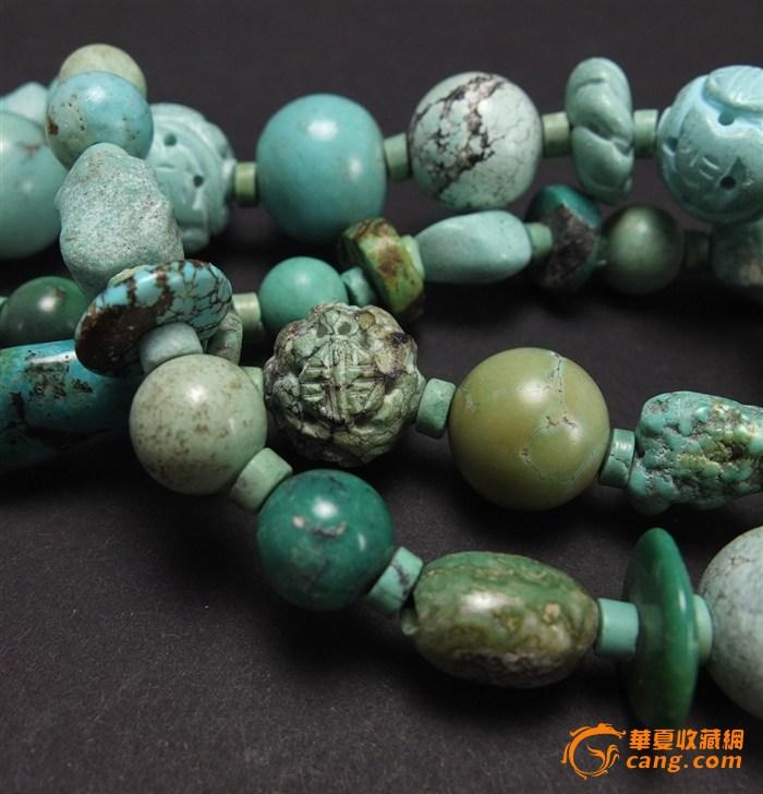 民国左右*创汇期—天然原矿*绿松石*寿字花纹*镂空雕—圆珠项链