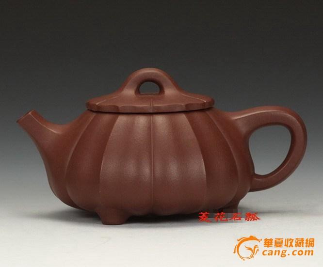 宜兴紫砂壶.工艺师王正国制.黄龙山优质紫泥 菱花石瓢壶