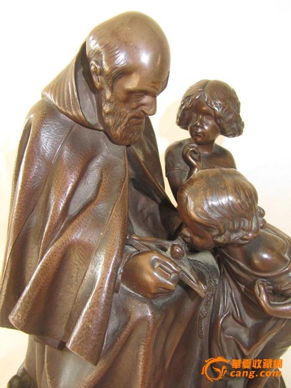 欧洲直邮 十九世纪初欧洲铜雕神父授徒像