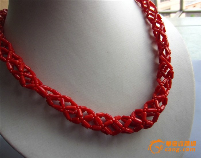 天然红珊瑚编织项链
