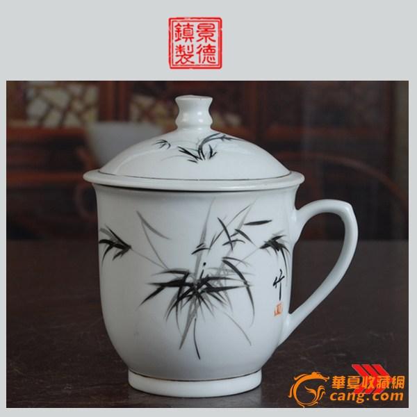 景德镇陶瓷 文革瓷器 古瓷器 全手工彩绘釉把子墨竹图茶杯
