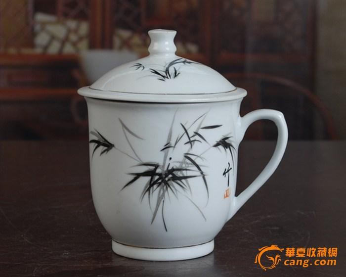 景德镇陶瓷/文革瓷器/古瓷器/全手工彩绘釉把子墨竹图茶杯图2