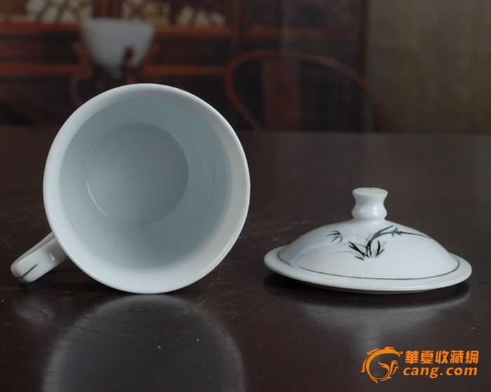 景德镇陶瓷/文革瓷器/古瓷器/全手工彩绘釉把子墨竹图茶杯图4