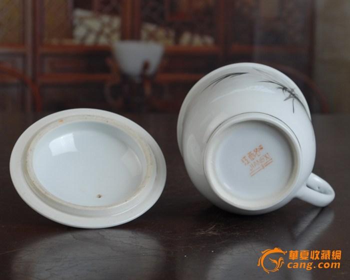 景德镇陶瓷/文革瓷器/古瓷器/全手工彩绘釉把子墨竹图茶杯图5
