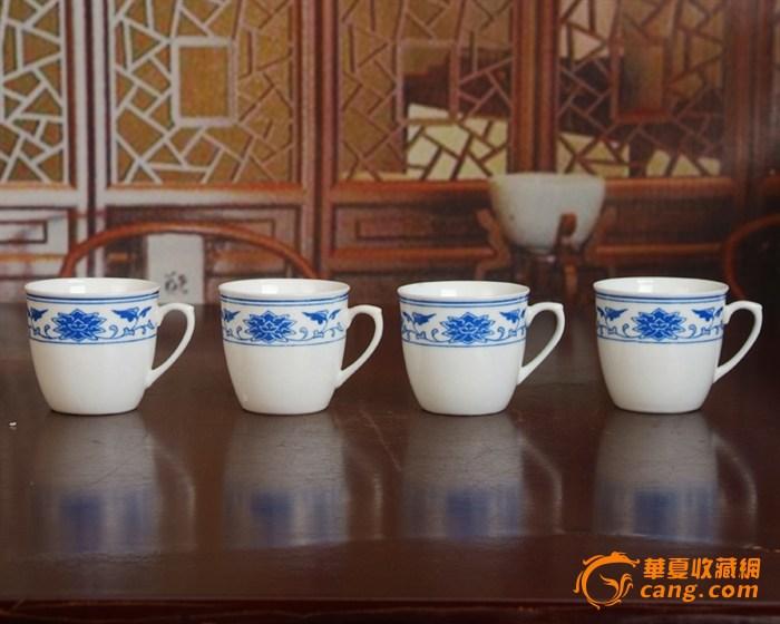 景德镇陶瓷 文革瓷器 厂货 全手工彩绘釉下彩花卉杯4个图2