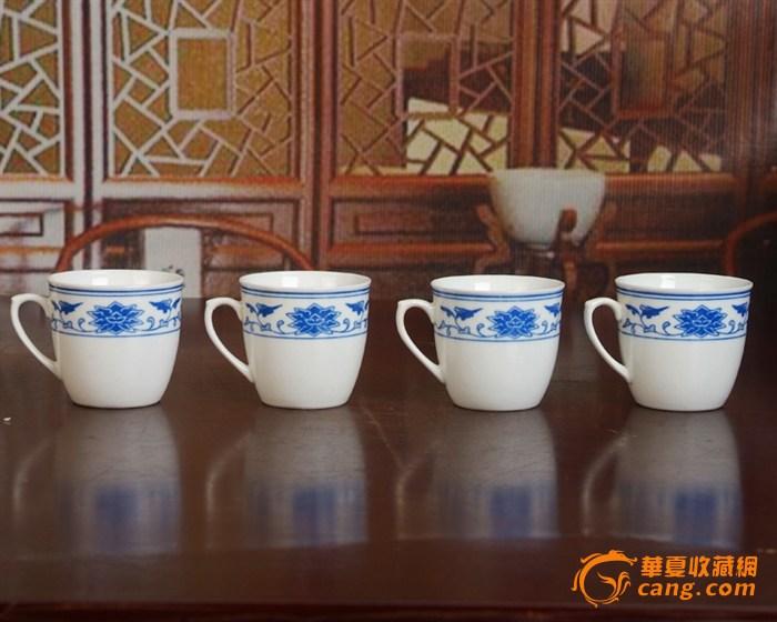 景德镇陶瓷 文革瓷器 厂货 全手工彩绘釉下彩花卉杯4个图3
