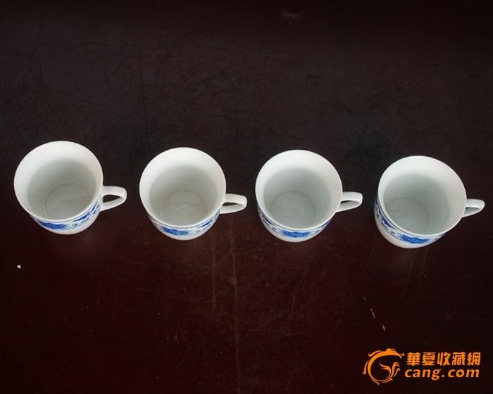 景德镇陶瓷 文革瓷器 厂货 全手工彩绘釉下彩花卉杯4个图4