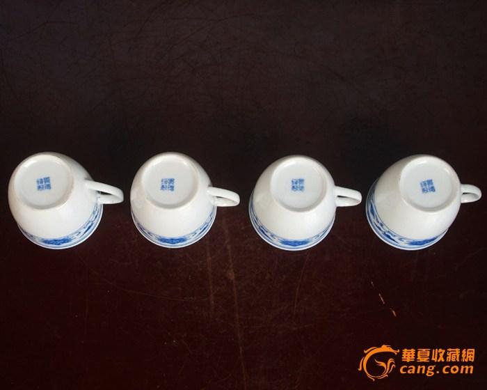 景德镇陶瓷 文革瓷器 厂货 全手工彩绘釉下彩花卉杯4个图5