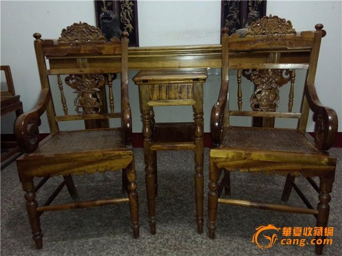 民国金丝楠木玫瑰椅(3件套)