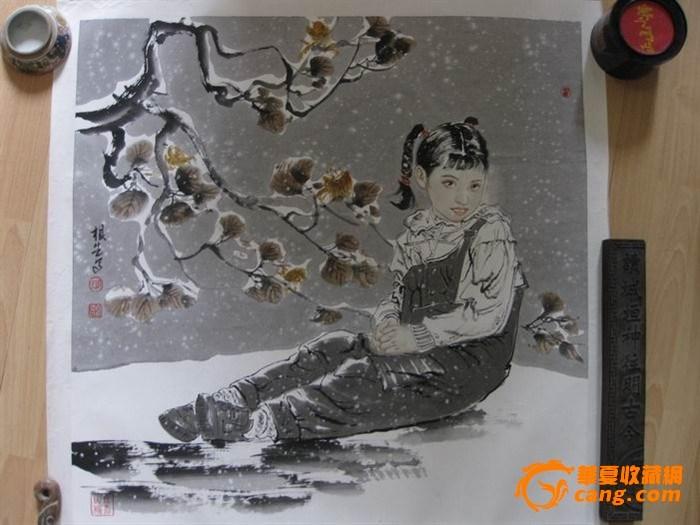 江苏画家王根生:少女人物。斗方