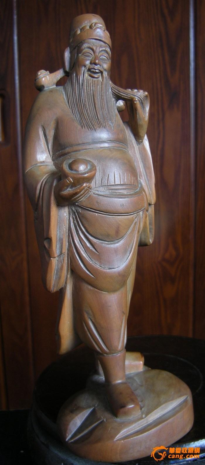 近现代 小叶黄杨 纯手工木雕 财神 造像