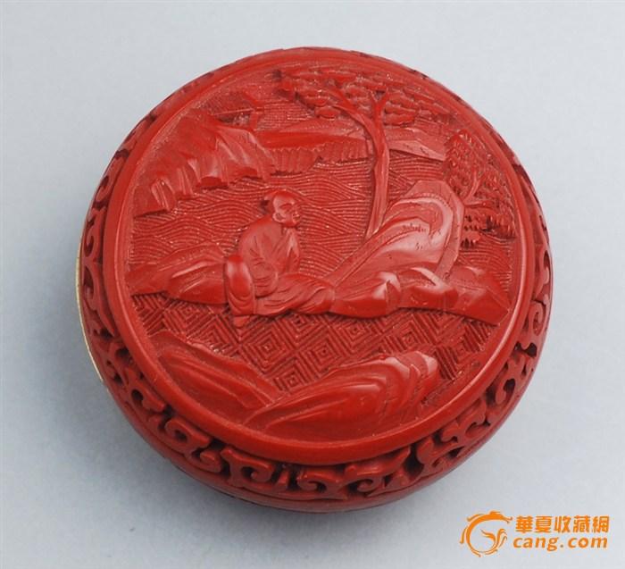 民国建国初 铜胎 人物山水剔红圆盒