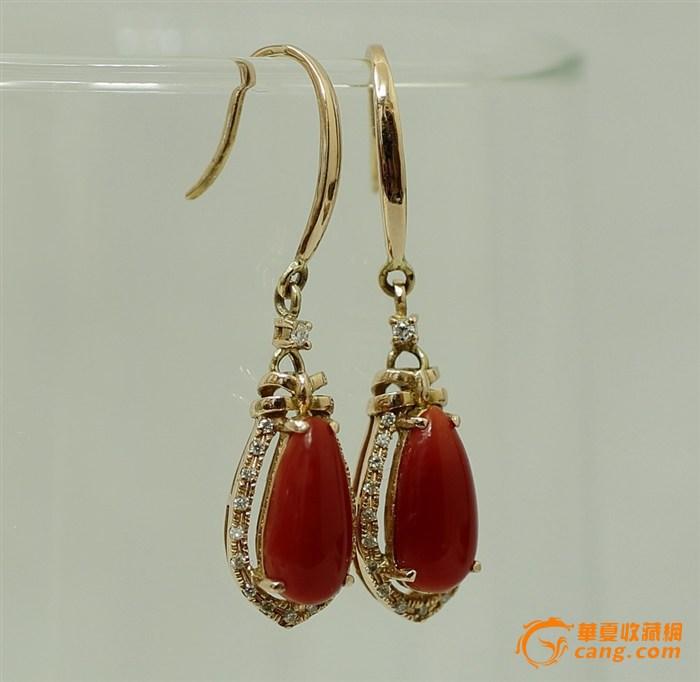 阿卡红珊瑚18k白金镶钻耳坠