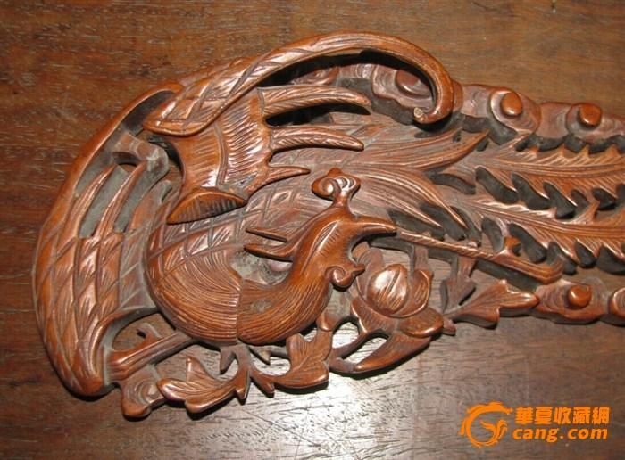 清罕见大尺寸黄杨木雕凤凰摆件