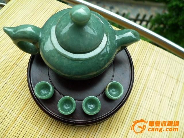 翡翠a貨滿綠茶壺玉擺件