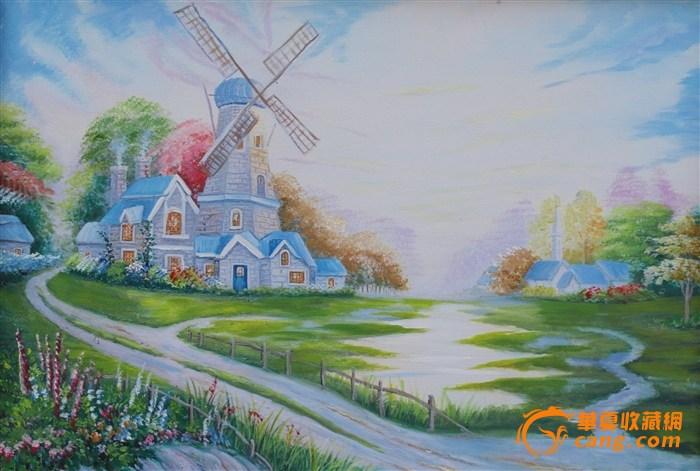 手绘油画(风车)