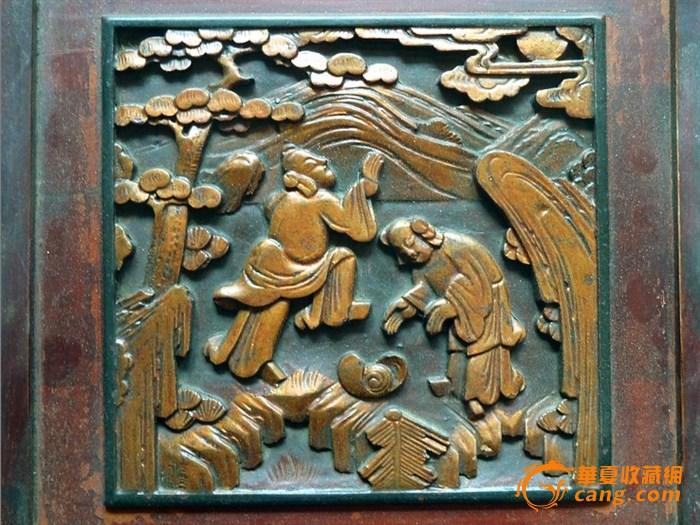 清代老木雕制金漆和合二仙花板