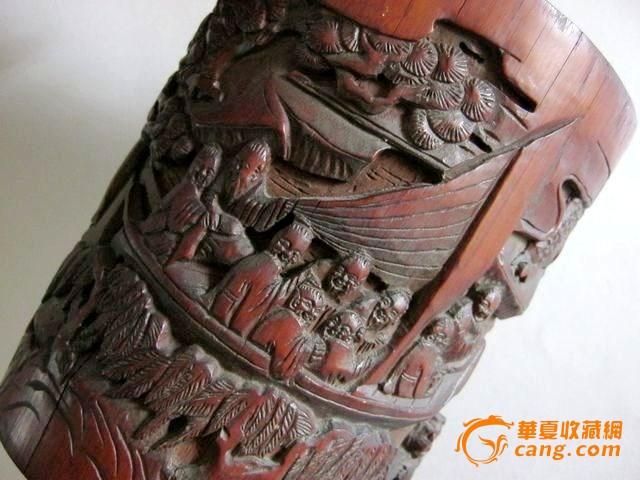 收藏级 老竹雕人物故事笔筒 雕有人物14人