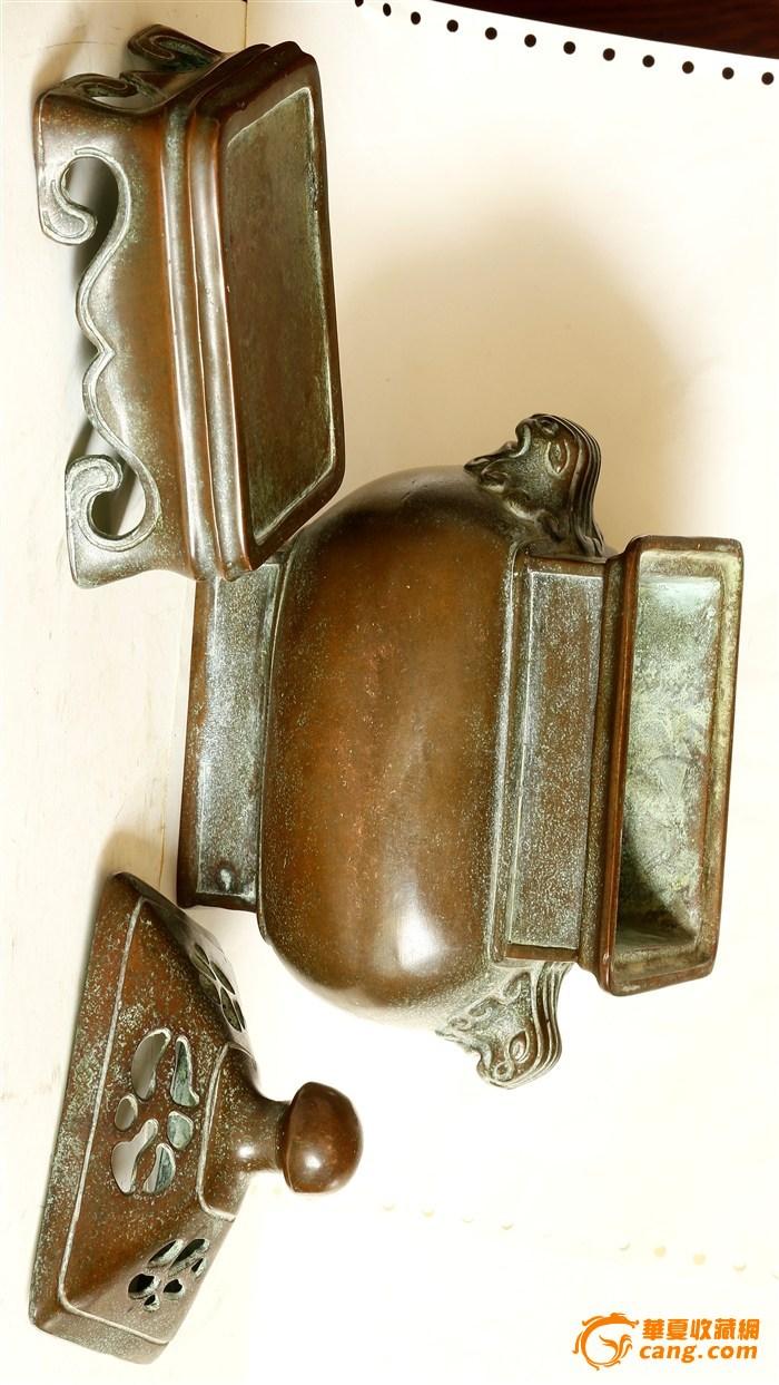 """晚晴寄托""""乾隆年制""""款 三件套 造型浑圆端庄级有�致的铜熏炉(消保�u家低价�u�N)图3"""