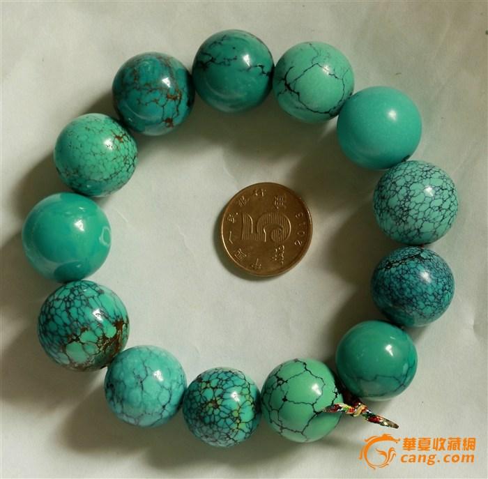 101.5克 高品质 微沁 漂亮花纹 天然绿松石 正圆珠 男士手钏