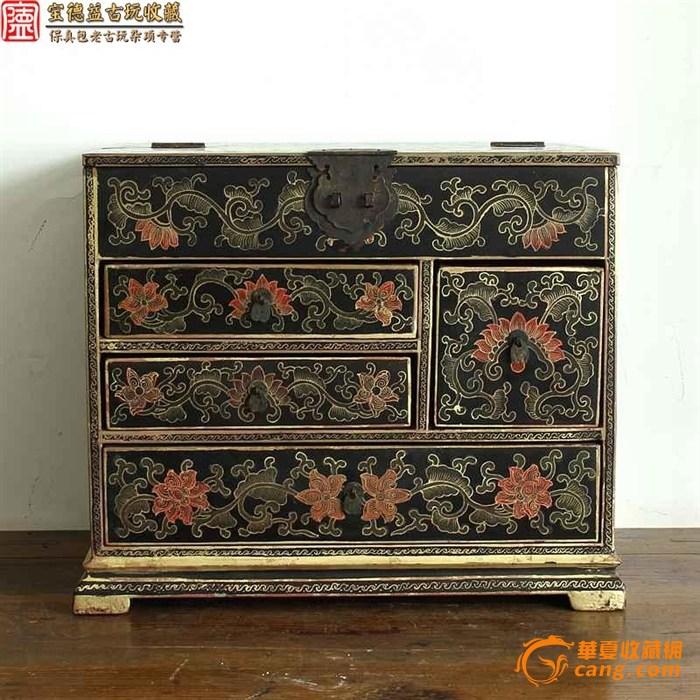 【联盟】清代极美老木漆皮花卉纹大箱子