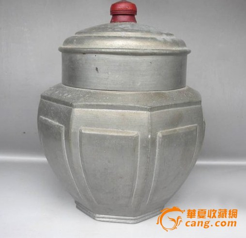 【联盟】民国罕见超大精美锡器八棱茶罐