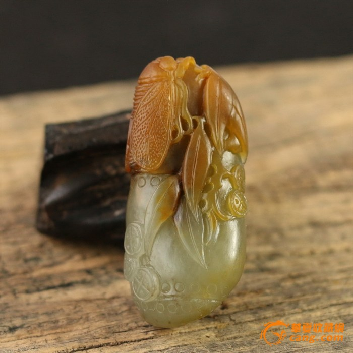 【联盟】新疆和田玉黄沁籽料挂件步步高升  带证书