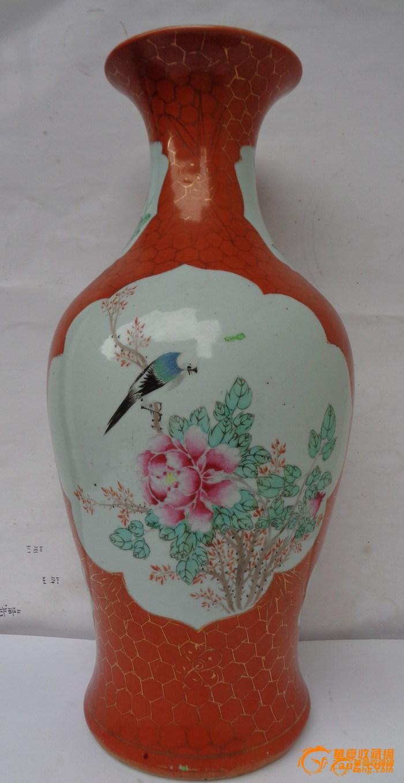 【联盟】清晚民国珊瑚红地粉彩开窗花鸟纹观音瓶