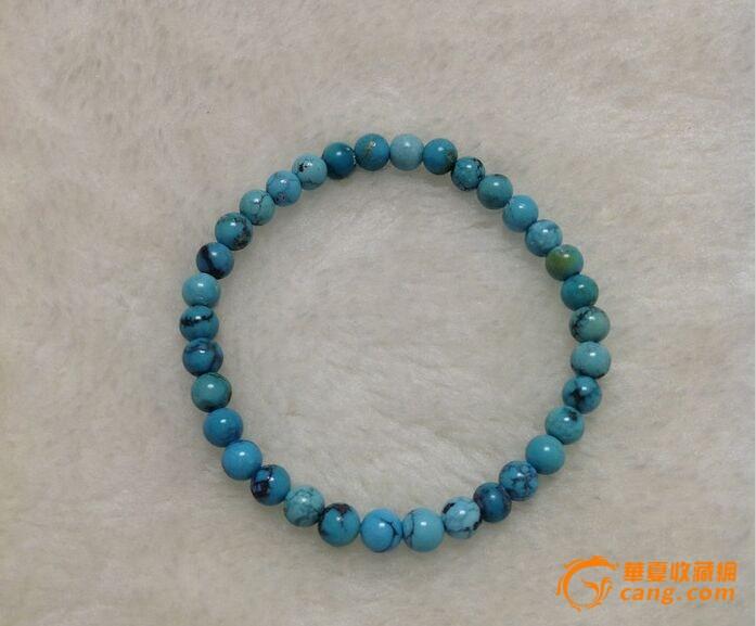 【联盟】原矿无优化绿松石圆珠手串一条