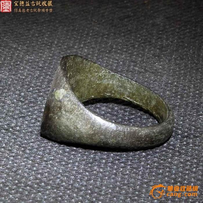 千年老青铜刻图腾印章戒指