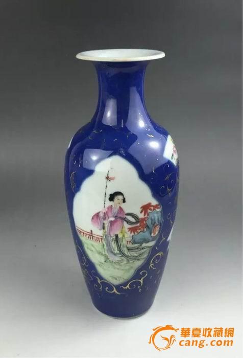 晚清民国早期-洒蓝描金开窗人物纹柳叶瓶图片