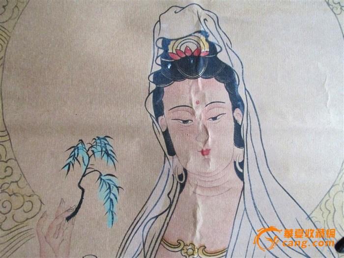 民国 馆藏 翔鱼观音 工笔画