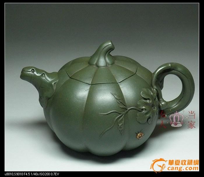茗壶典藏 台湾回流 墨绿紫砂 南瓜壶380cc图1