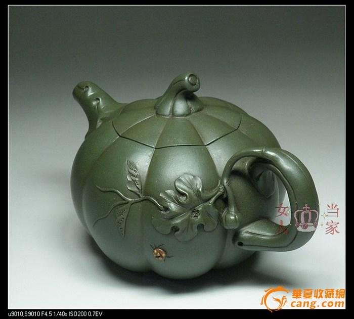 茗壶典藏 台湾回流 墨绿紫砂 南瓜壶380cc图2