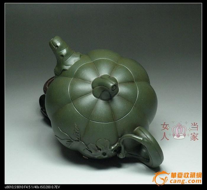 茗壶典藏 台湾回流 墨绿紫砂 南瓜壶380cc图4