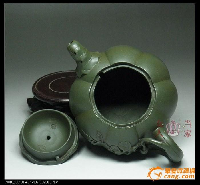 茗壶典藏 台湾回流 墨绿紫砂 南瓜壶380cc图5