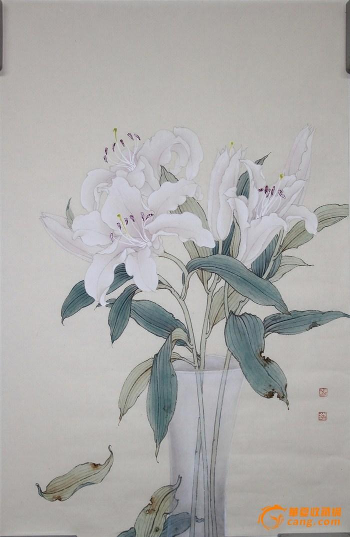 国画工笔花瓶花纹